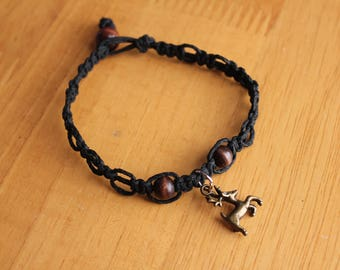 Black Hemp Bracelet with Deer Charm - Comfortable Fit - Great Handmade Gift Idea - Comfortable Jewelry - Bracelet with Bronze Deer Charm