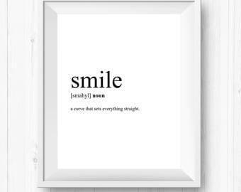 Minimalist Prints, Smile, Definition Posters, Smile Nursery Art, Smile Print, Smile Definition, Scandinavian Design
