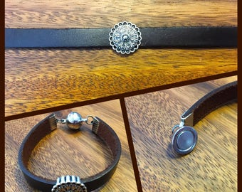 Brown Leather Bracelet, Magnetic Clasp
