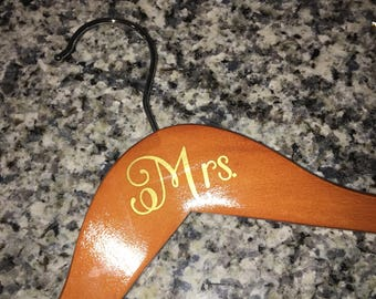 Customized Personalized Mrs. Bride Wooden Wedding Hanger