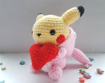 Totochu Valentine's day themed amigurumi/crochet | Pikachu Totoro | Plush | Gifts for her | Gifts for him | Love heart [Made to order]