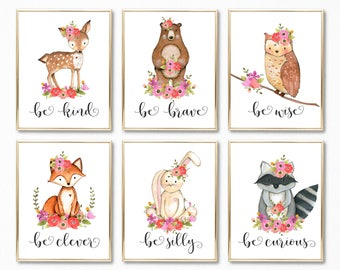Nursery Decor. Nursery Prints. Nursery Art. Girl Nursery Art. Girl Nursery Prints. Be Brave Be Kind Be Clever Be Wise Be Curious Be Silly