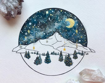 Custom Whimsical Mountain Night Sky Painting, Original Watercolor Illustration, Custom Mountain Range