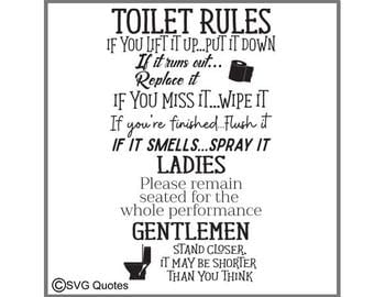 Toilet rules etsy for Bathroom quotes svg