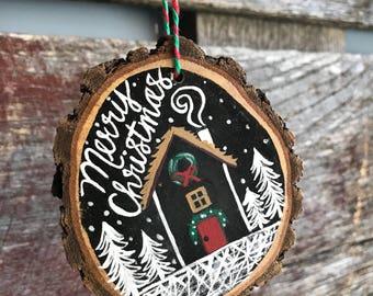 Wood slice painted ornament