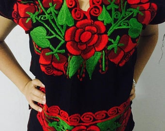 Embroidery Blouse, Black mexican blouse, mexican tribal embroidered, Bohemian top, Folk flowers top, Mexican embroidery, tribal blouse