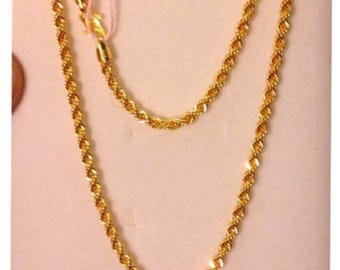 "23""  22k gold 916 gold rope chain necklace"