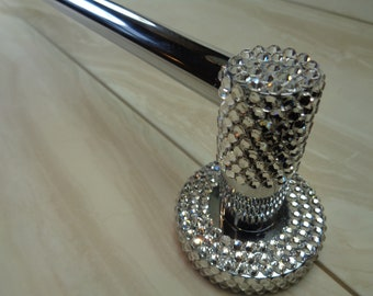 Towel rail hand encrusted with authentic luxury Preciosa TM clear crystals