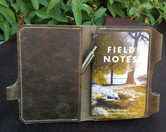 Leather Passport / Field Notes Cover w/ Pen Holder