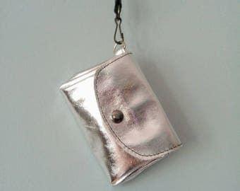 Metallic Silver Clutch Purse, Wallet, Leather Coin Purse, Leather Purse, Handbag, Clutch, Silver