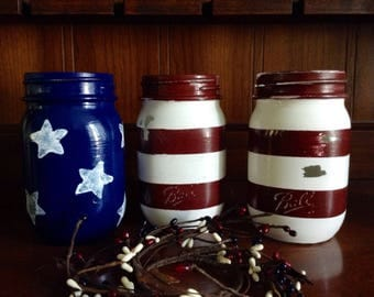 4th Of July American Flag Decor Mason Jars 4th Of July
