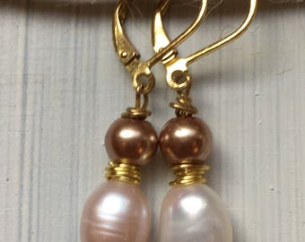 Ancient Chandelier Earrings / Antique Style Earrings / Roman Jewelry / Greek Jewelry / Freswater Pearl Teardrop Gold Wire Earrings