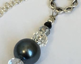 Modern Black Pearl & Crystal Pendant Necklace, Minimalist, Long Fashion Necklace