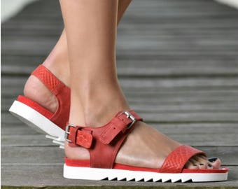 SALE/Red Genuine Leather Sandals/Red Summer Sandals