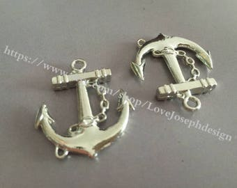 10 Pieces /Lot Antique Silver Plated 27mmx31mm Anchor Charms (#004)