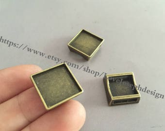 50 Pieces /Lot Antique Bropnze Plated 15mm square slide bracelet blanks cabochon bezel trays charms (#0142)