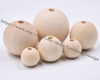 wholesale 100pcs Unfinished 8mm-40mm round Natural Wooden Beads accessories