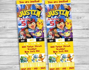 Pokemon Go Invitation, Pokemon Invitation, Pokemon Birthday, Pokemon Party, Pikachu Invitation, Pikachu Birthday, Pokemon Ticket | PK_1