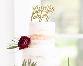 Mr and Mrs Name Wedding Cake Topper Glitter - Wedding Cake Decor - Personalized Topper - Wedding Gift Cake Topper - Personalised Cake Topper