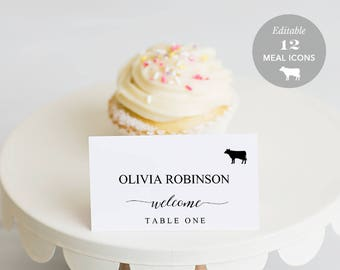 Wedding Place Card Printable, Place Card Template, Meal Choice Selection, Name Card, Seating Card, Instant Download Editable PDF #SPP007iipc
