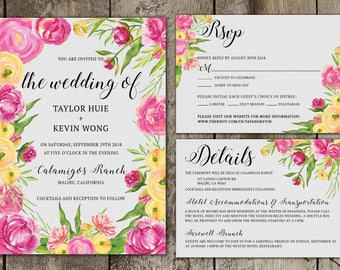 Digital Pink and Yellow Floral Wedding Invitation