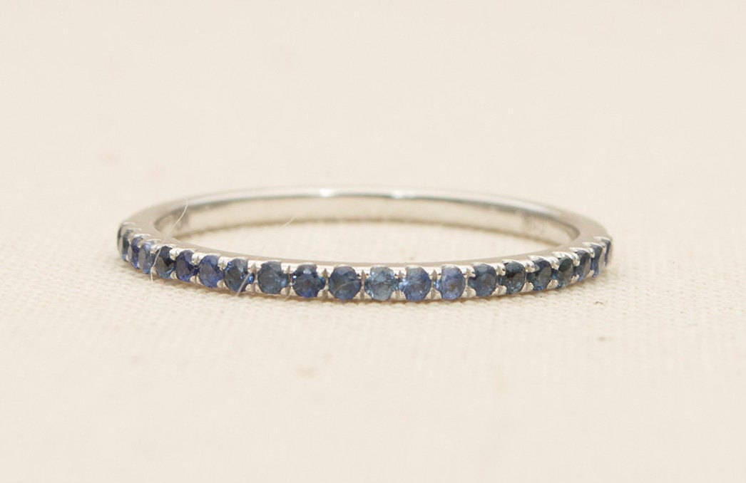 Blue Sapphire 1mm Full Eternity 18K Gold Micro Pave Thin
