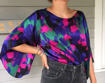 Vintage 90s Bold Floral 100% Silk Charmeuse Blouse w/ Bell Sleeves | S-L