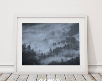 Blue Foggy Mountain Print, Nature Mountain Photography, Foggy Images, Mountain Picture Large Printable Modern Minimalist Art Wall Art Decor