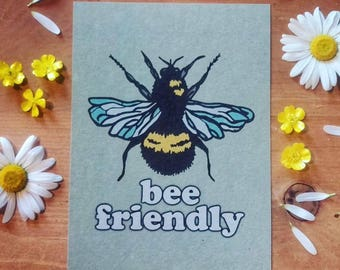 BEE FRIENDLY Digital Print on A5 Recycled Card - Save the Bees Hippy Kids Bedroom Nursery Wall Art Gypsy Soul Retro Eco Earth Friendly