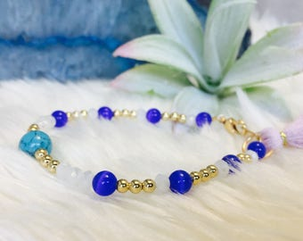Turquoise and Blue Glass Beaded Bracelet