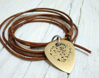 Men's necklace leather lanyard with brass pick perfectly worked handmade