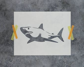 Shark Stencil - Reusable DIY Craft Stencils of Great White Shark