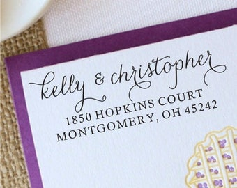 Return Address Stamp, Calligraphy Address Stamp, Custom Heart Address Stamp, Wedding Rubber Stamp Gift 1047