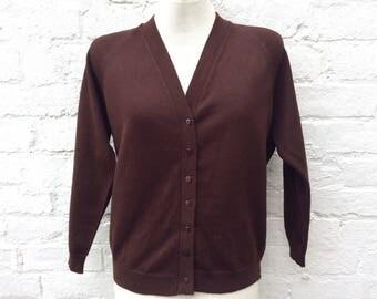 Brown vintage cardigan, knit cardi, women's winter fashion