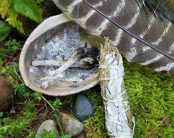 cedar and California white sage smudge stick for powerful purification and protection - smudge instructions included
