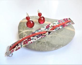 set liberty ღ ღ bracelet suede set and earrings ღ red infinity set