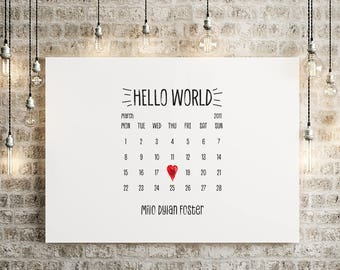 Personalised Hello World, Christening Gift, New Baby Print, A4/A3, Calendar, Print for Parents, Wall Decor, Heart, Date of Birth Print