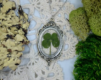 Genuine 4 Leaf Clover Cameo Necklace [LC 030] / Stainless Steel / White Clover Pendant / Triforium Repens Gift / Good Luck Charm