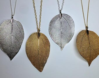 Real Leaf Necklace Gold Plated Sterling Silver Chain Necklace Leaf Pendant Rustic Wedding Jewelry Statement Necklace Bridesmaid Gift For Mom