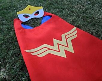 Wonder Woman Cape & Mask - kids cape, superhero red/blue satin cape w/ velcro closure, halloween costume, dress up, girls birthday party