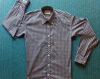 "Jump The Gun Button Down Long Sleeve Shirt.Black/White Check Size 15.5"""