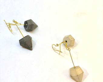 Earrings in 925 sterling silver gold plated and diamond concrete