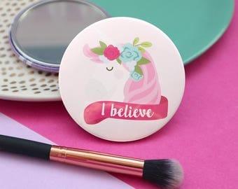 Pocket mirror / Unicorn mirror / Unicorn gifts / Cute mirrors / Compact mirror / Bridesmaid gift / Hen party favours / Unicorn present
