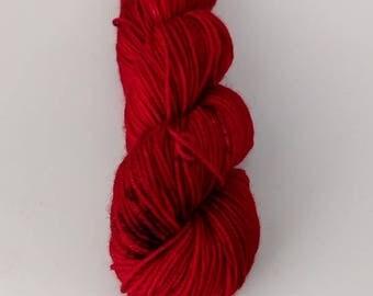 SALE Hand Dyed Yarn Superwash Merino  Nylon, 4 ply, sock yarn, 50g - Super Cherry