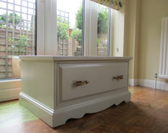 1 Refurbished side table draw storage unit  with resessed glass top suitable as TV stand etc.