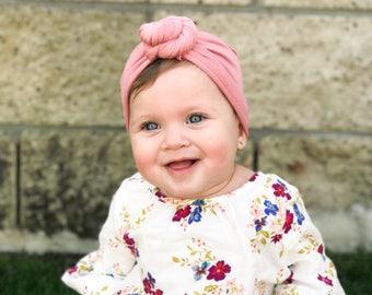 Dusty rose, baby turban, knot turban, baby hat
