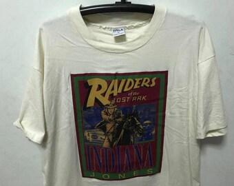 Vintage 80s Indiana Jones Shirt Size XL Free Shipping Indiana Jones Raiders of the Lost Ark Movie Shirt Steven Spielberg  Lucasfilm Ltd