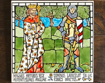 King Arthur and Sir Lancelot Hand painted decorative tile