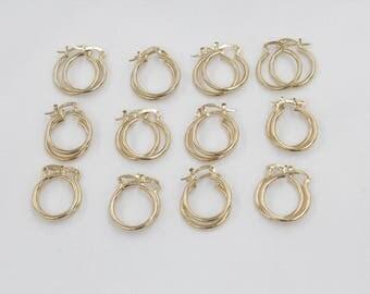 12 Pair 2x15 GOLD hoop earnings for beading, earrings for jewelry making, gold earrings for beading,