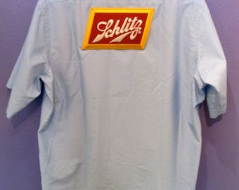 Schlitz Men's Button Down Beer Shirt Size L